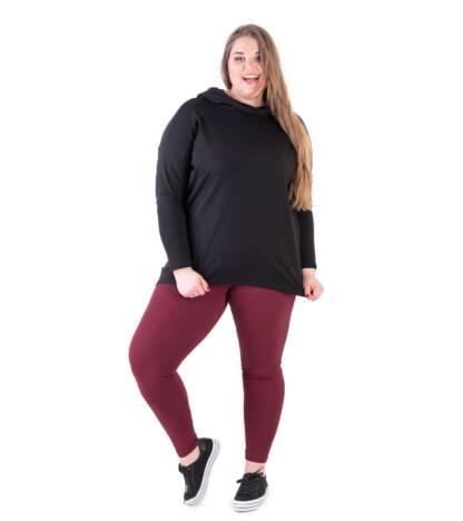Bensini Bordowe legginsy plus size z wysokim stanem