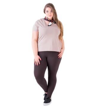Bensini Brązowe legginsy plus size z wysokim stanem
