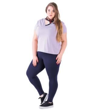 Bensini Granatowe legginsy plus size z wysokim stanem
