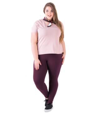 Bensini Śliwkowe legginsy plus size z wysokim stanem