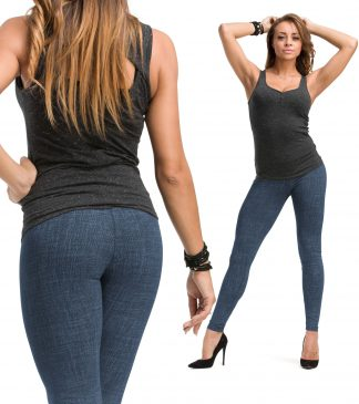 legginsy damskie druki imitacja jeans kwiaty roma bensini