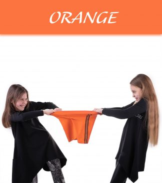 Krótkie legginsy dziewczęce z lampasem NIKE orange
