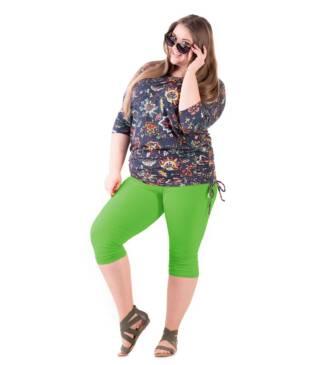 Bensini zielone legginsy rybaczki plus size