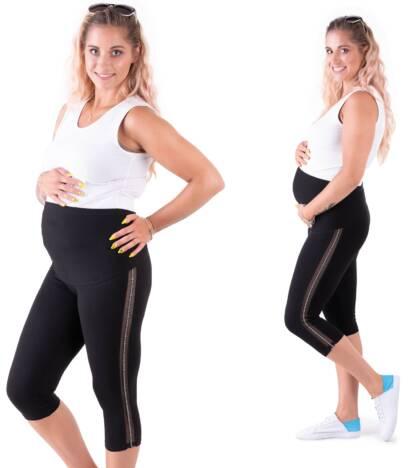 Czarne legginsy ciążowe rybaczki z lampasem z siatki NIKE Bensini