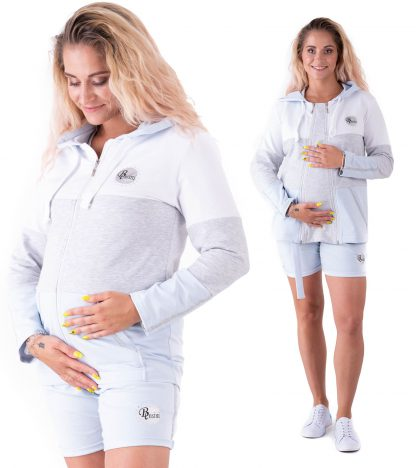 Bluza ciążowa z kapturem i do karmienia Galla Baby blue Bensini