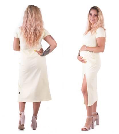 Bensini Sukienka ciążowa Gaya w budyniowym odcieniu