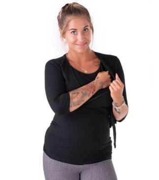 Czarna bluzka ciążowa i do karmienia wiązana pod biustem