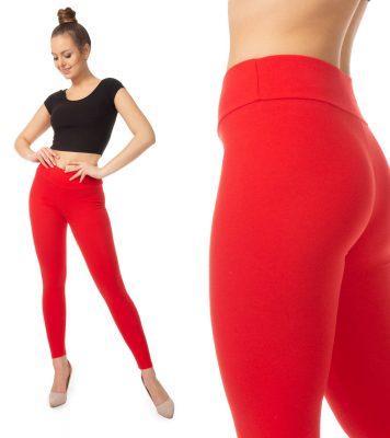 Czerwone legginsy dla mamy i córki - wysoki stan