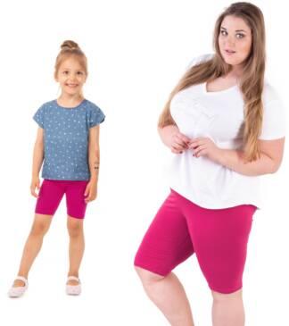 Krótkie legginsy dziecięce z wysokim stanem w odcieniu fuksji dla mamy i córki