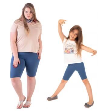 Krótkie legginsy dziecięce z wysokim stanem w odcieniu indygo dla mamy i córki