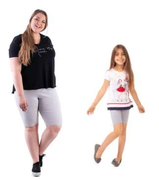 Krótkie legginsy dla mamy i dziecka szary melanż Bensini