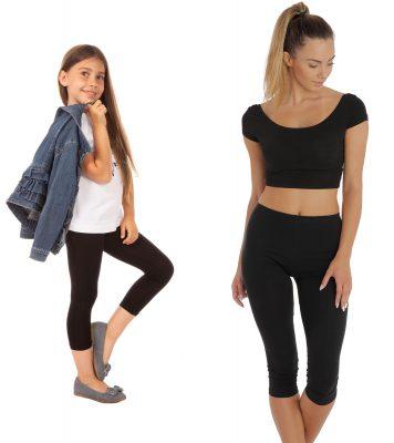 Czarne legginsy 3/4 z gumką w pasie dla mamy i córki