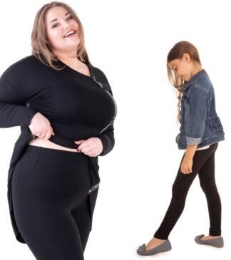 Czarne legginsy z wysokim stanem dla mamy i córki Bensini