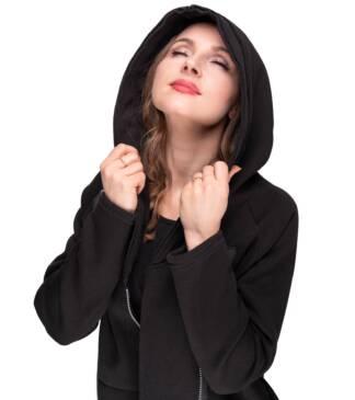 Czarny płaszcz damski z kapturem Polaż Bensini