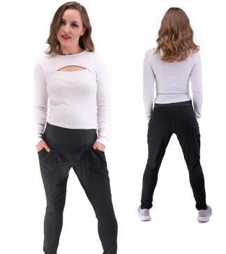 Spodnie dresowe ciążowe Mila w czarnym kolorze Bensini