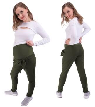 Spodnie dresowe ciążowe Mila w kolorze khaki Bensini