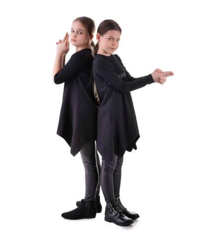 Czarne legginsy dziewczęce latexowe