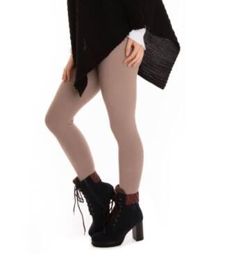 Ocieplane legginsy z wysokim stanem beżowe